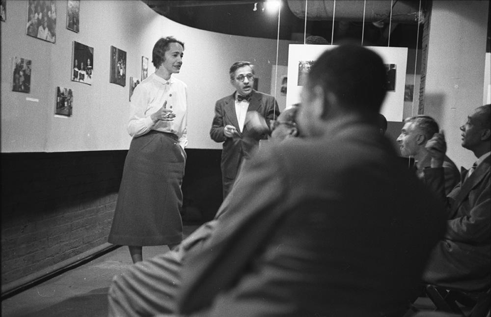 Rosalie Gwathmey shares her work at a Photo League meeting, 1947