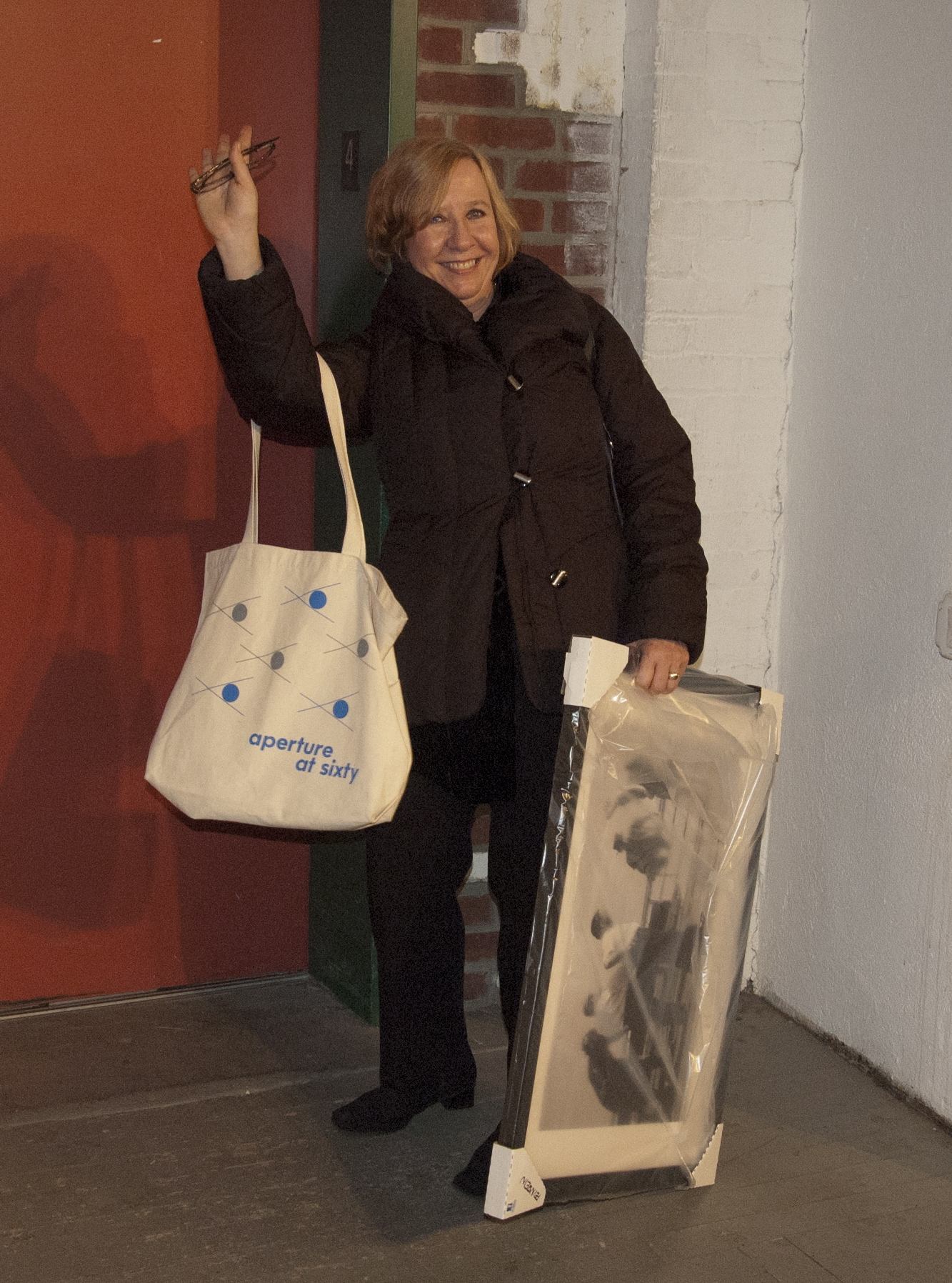 Our super special publicist, Andrea Smith, stays late into the evening and leaves with a framed print to support Hurricane Sandy relief efforts! Thank you Andrea!