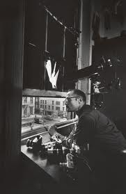 Gene from the 4th floor window of The Jazz Loft from which he did his series  From My Window.  Copyright Heirs of W. Eugene Smith