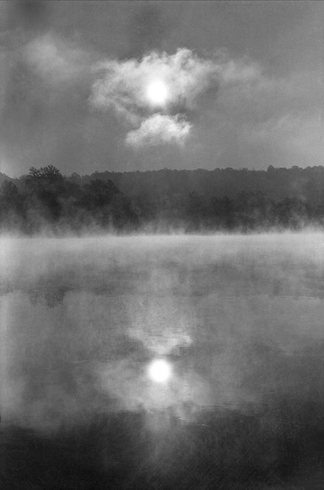 Twin Suns on Misty River's  Edge, Ringoes, NJ, 1962  In the ICP permanent collection