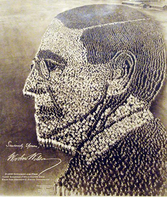 A photo by Arthur S. Mole and John D. Thomas  A portrait of President Woodrow Wilson, formed of 21,000 officers and men at Camp Sherman, Chillicothe, Ohio, 1918