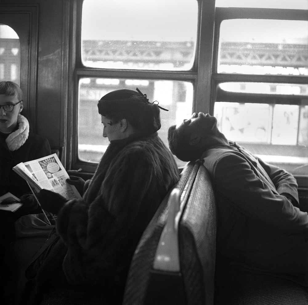 Passengers Sleeping & Reading on NYC Subway, 1949