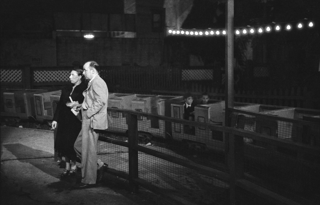 Couple by night train ride,   1956