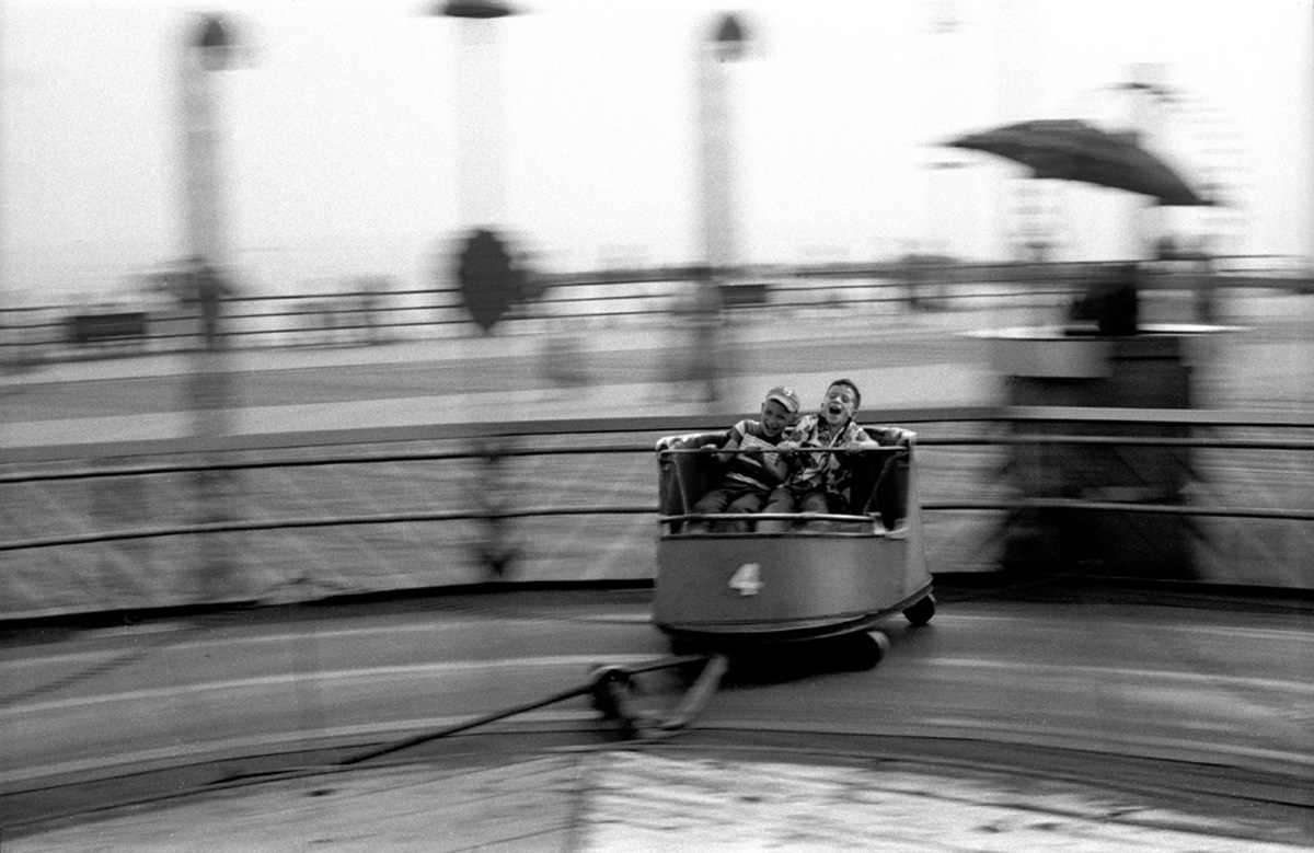 Kids ride the whip, Coney Island, 1950