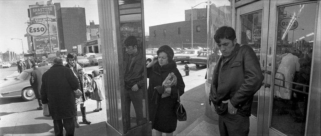 Outside Katz' deli on Houston Street, 1971
