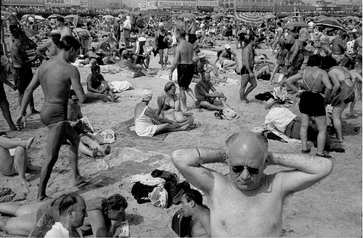 Crowded Beach at Coney Island, 1960