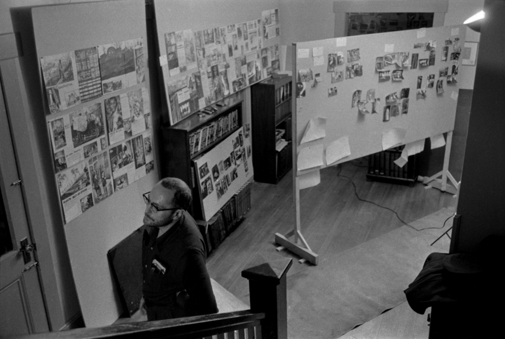 A wider angle view of the evolving lay-out on the wall,  1956