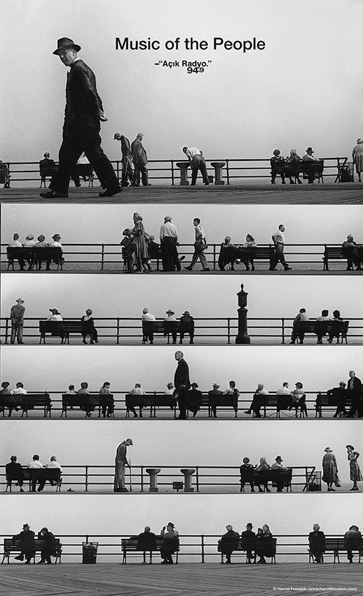 Acik Radyo Music of the People poster with Coney Island Boardwalk Montage, 1950 © Harold Feinstein