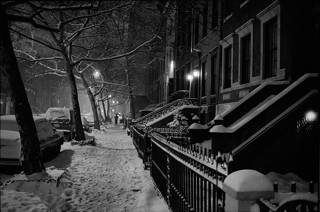 Night snow on West 11th Street, 1982