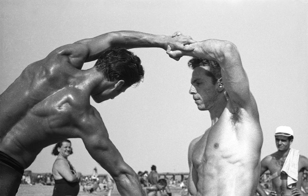 Beach gymnasts, Coney Island,  1967