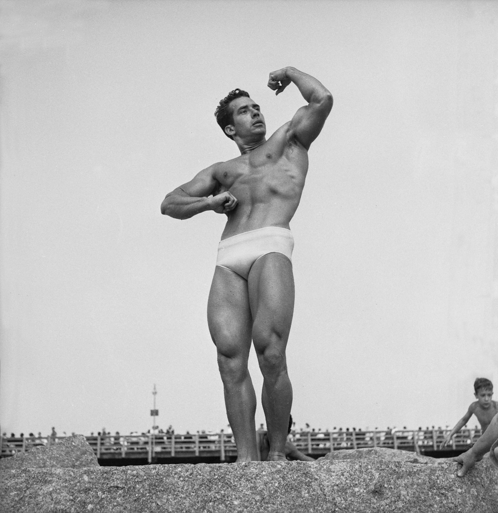 Muscle man, Coney Island, 1950