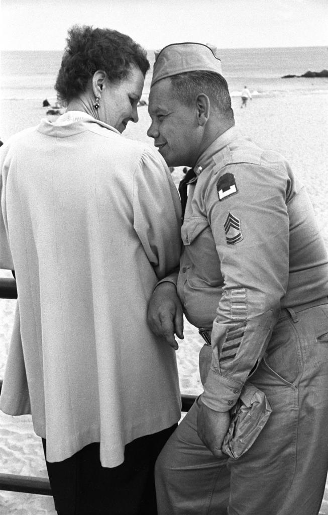 Sergeant Flirting on boardwalk, 1951