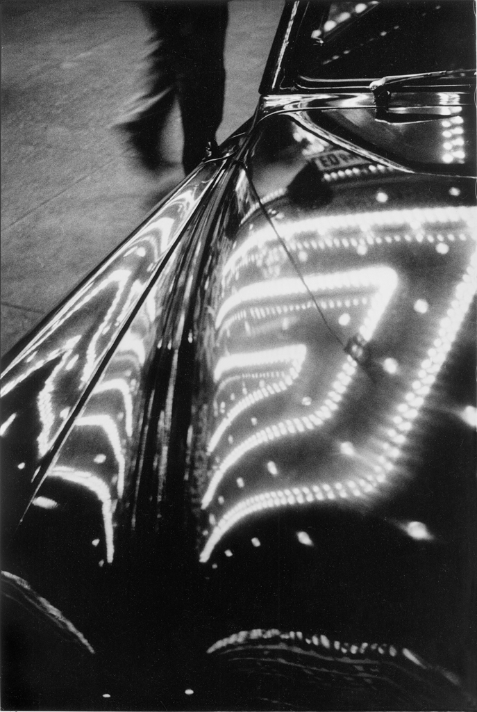 Times Square lights on car, 1953