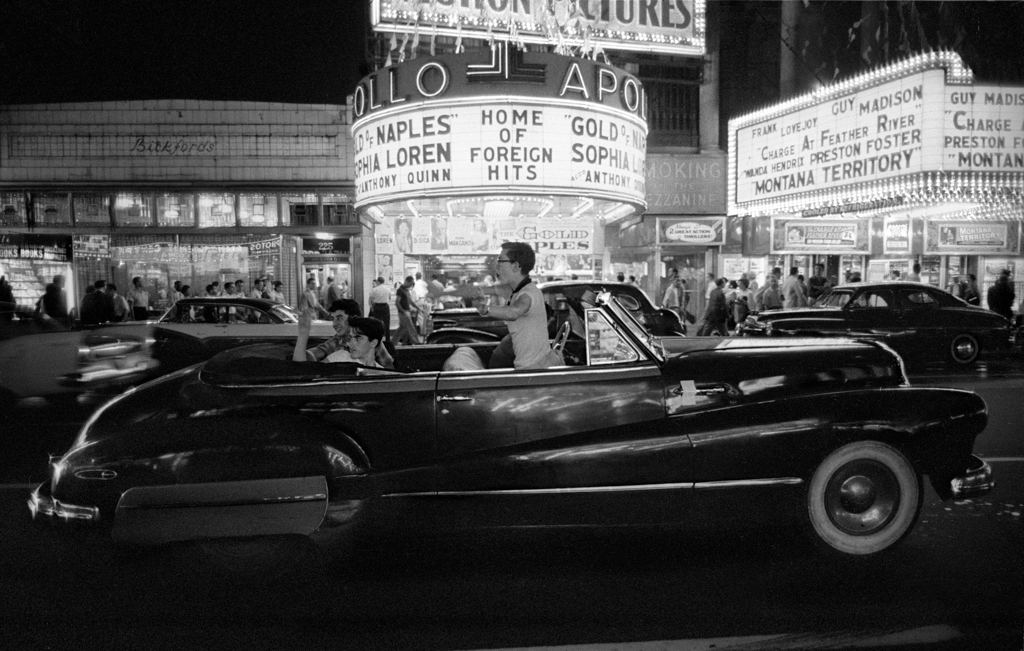 Cruising on Saturday night, 1957  Here the old Apollo Theater on 42nd Street specialized in foreign films, which were a bit sophisticated for me at the time!