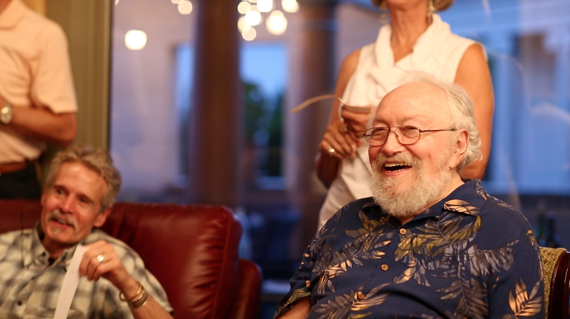 Old friend, student and printer, David Caras shares a laugh with Harold
