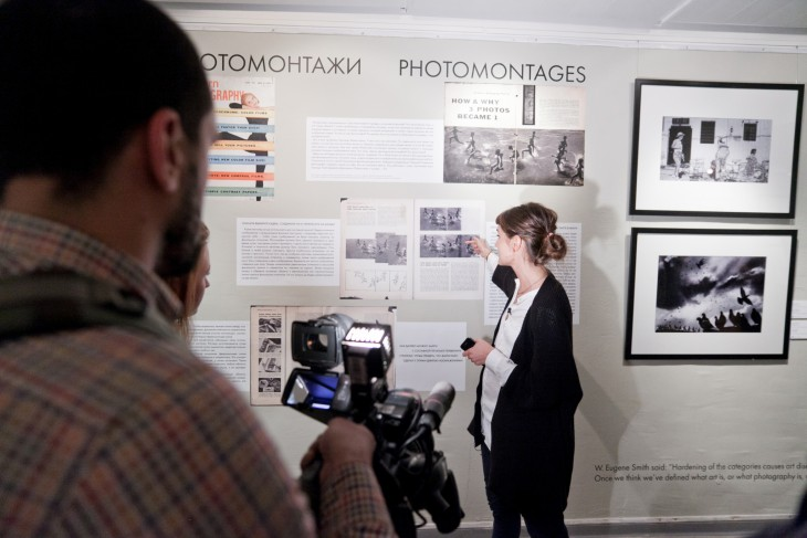 Curator, Anastasia Leptikova shares Harold's photomontages with the media