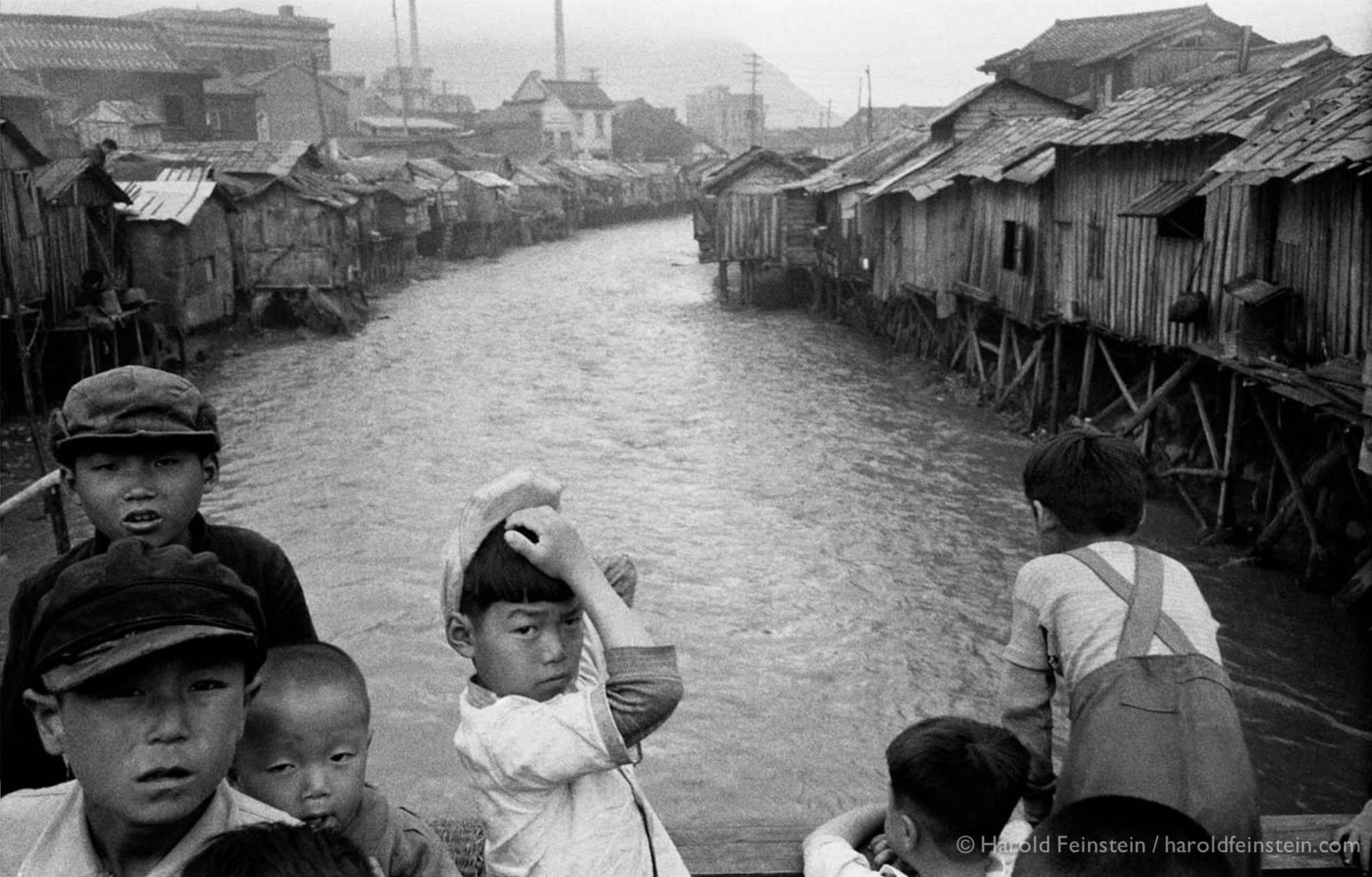 Korean Children at bridge, Pusan, 1952