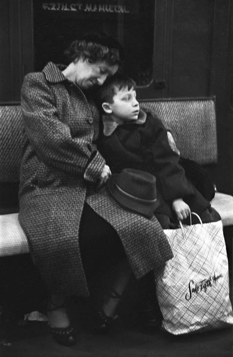 Mother and son on subway,  1954
