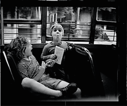 My daughter Robin and son Gjon on a bus in Philadelphia, 1965. Screen shot of contact sheet.