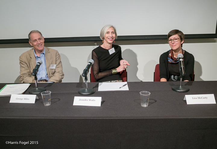 George Miles from Yale's Beineke Library, Jennifer Watts from The Huntington and Lisa McCarty from Duke's Center for Documentary Studies all shared on a panel about acquisition and placement of archives. © Harris Fogel