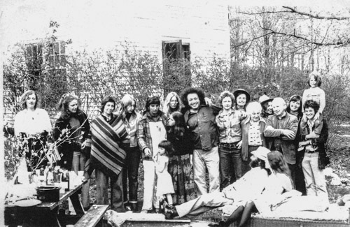 Harold with students at Windham College, 1974