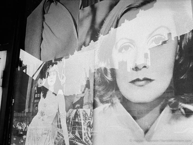 Greta Garbo movie poster, 1966, NYC, © Harold Feinstein