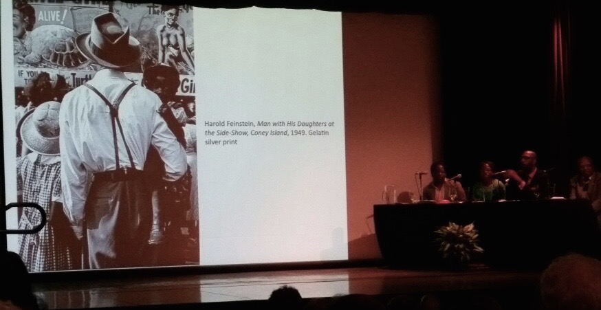 Man with daughters at side-show, 1949, discussed as part of the Race and identity panel at the Wadsworth's symposium on Coney Island, February 28, 2015