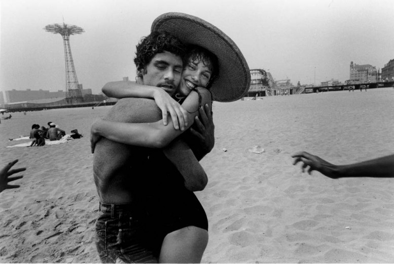 "The hug: Closed eyes and a smile"", 1982, © Harvey Stein."