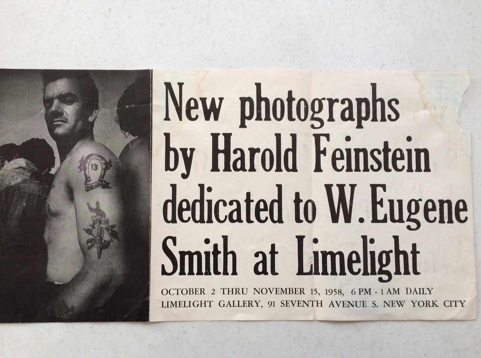 Poster advertising Harold's show at the Limelight Gallery, 1958