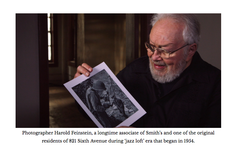 Harold  discussing one of Smitih's photos during an interview with Sara Fishko  for the film in 2013.  © Tom Hurwitz, AFC.