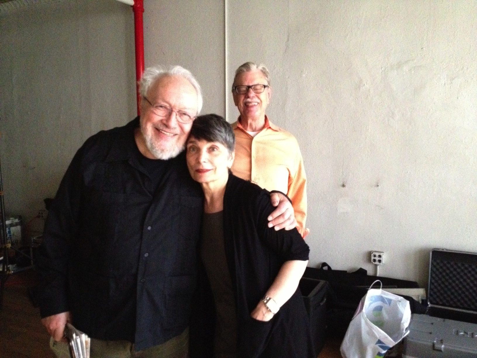 Harold with Sara Fishko and Cal Skaggs during the filming of The Jazz Loft According to W. Eugene Smith, 2013 © Judith Thompson