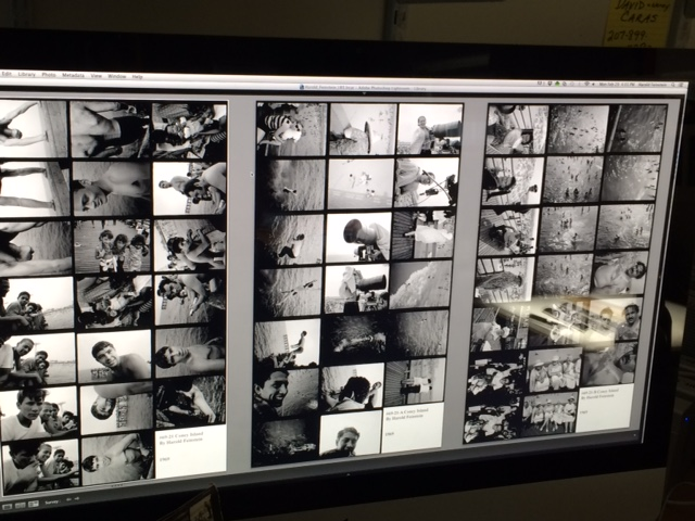 "72 images made into 3 digital contact sheets on a 27"" screen."