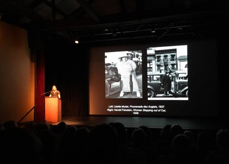 """Sarah Kennel, Curator of Photography at the Peabody Essex Museum, shares her reflections on the work and legacy of Harold Feinstein at The Firehouse Theater memorial event """"Unwrapping the gift of life: The work and wisdom of Harold Feinstein"""", June, 2016. © Eric Luden"""
