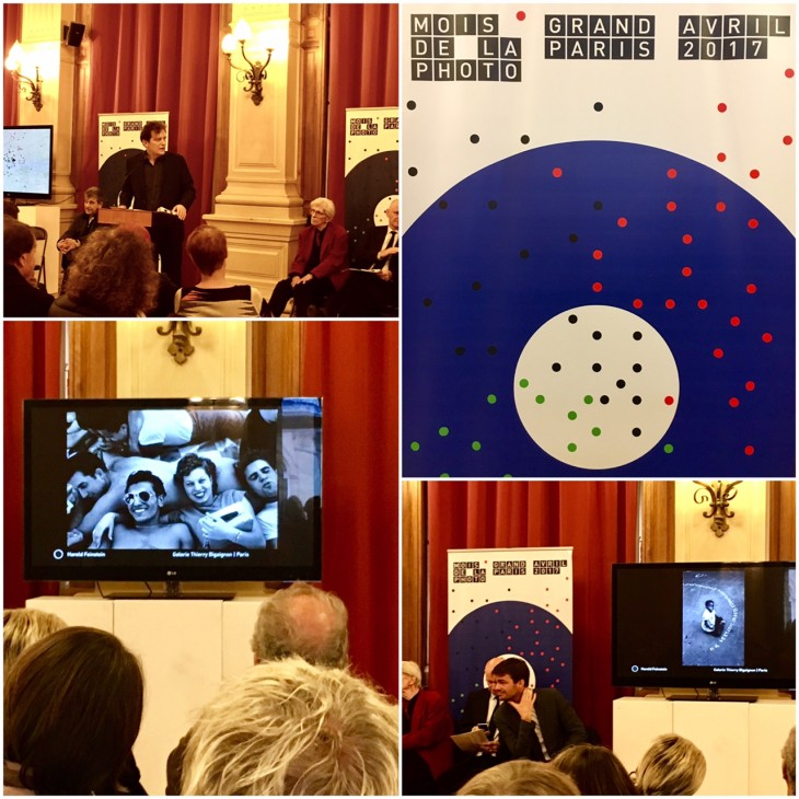 Francoise Hebel announces Mois de la Photographie Grand Paris at a Paris press conference. Harold Feinstein's work appears on the screens courtesy of the Galerie Thierry Bigaignon, one of the authorized venues for the festival. © Thierry Bigaignon