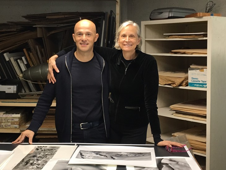 Thierry Bigaignon and Judith Thompson at the new studio reviewing prints for the 2017 Paris show. ©John Benford, 2016.